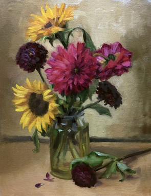 Chrysanthemums and Sunflowers