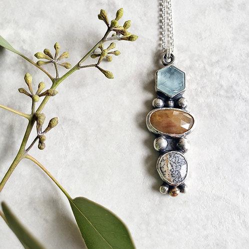 gem totem: aquamarine, golden sapphire, dendritic opal