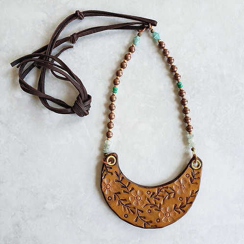 leather flowerbib necklace: copper/aqua