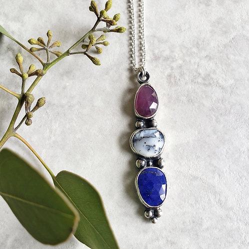 gem totem: mauve sapphire, dendritic opal, lapis lazuli