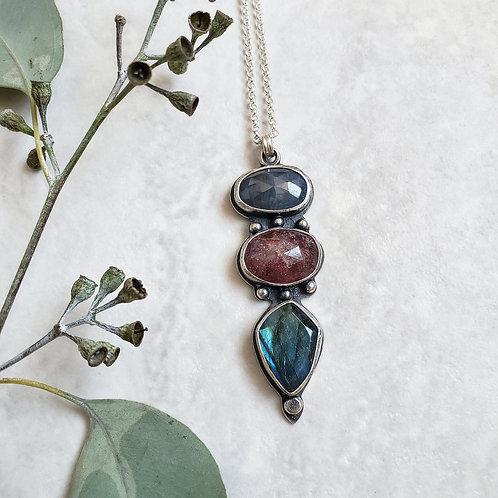 gem totem: sapphire, strawberry quartz, labradorite