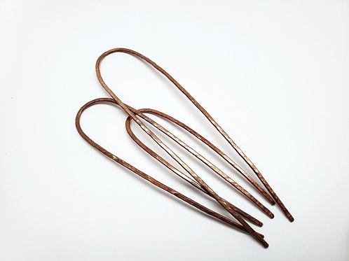 bun pins, pounded copper: various