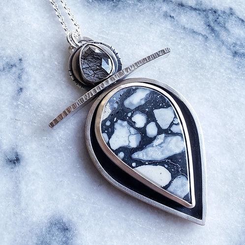 magnesite & tourmalinated quartz YIN/YANG