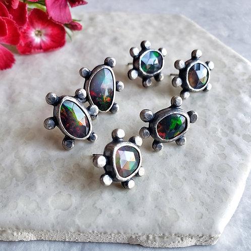 luxe molecule studs: black opal