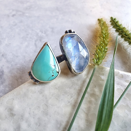 sky & moon: turquoise and moonstone