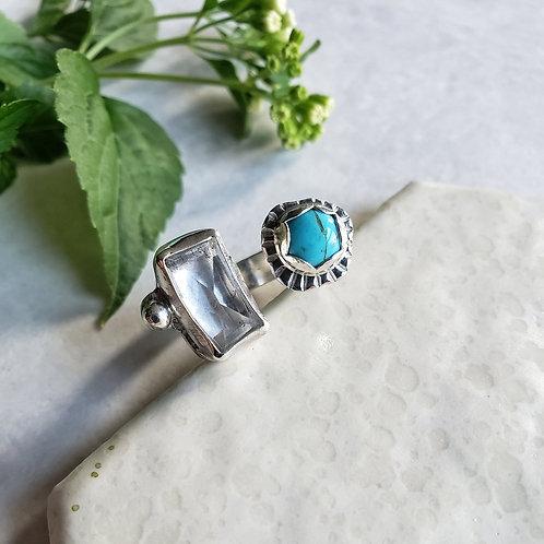 quartz/turquoise split-gem