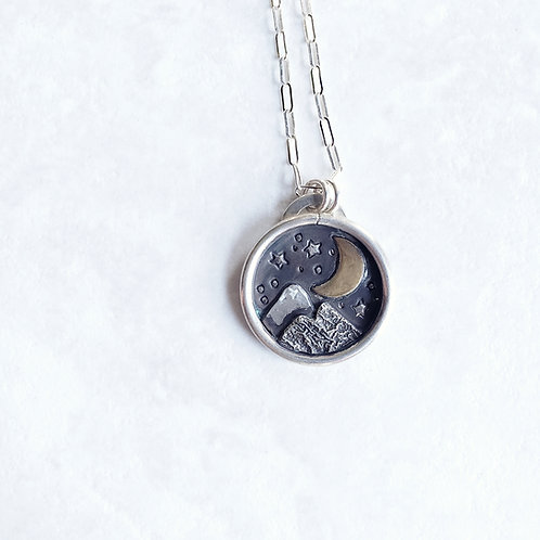 starry night mountain medallion: crescent