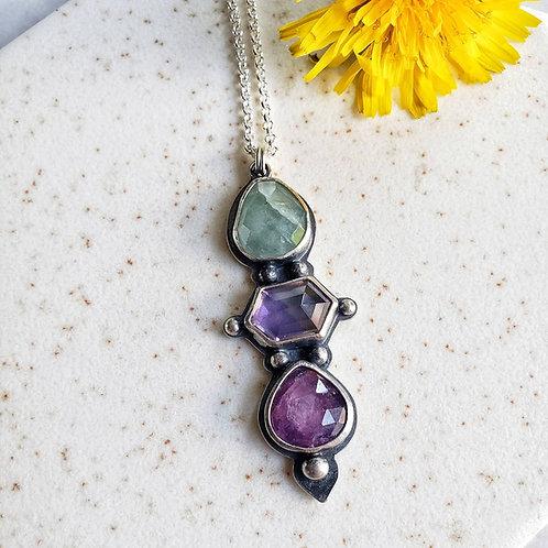 gem totem: aquamarine, ametrine, silk ruby sapphire