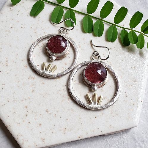 strawberry quartz gemstick hoops