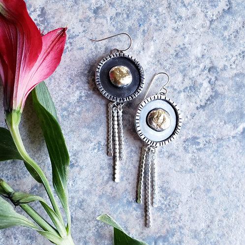 athena shield earrings w/ 24k gold