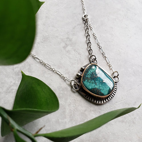 turquoise and pyrite tri-link, gold/ss