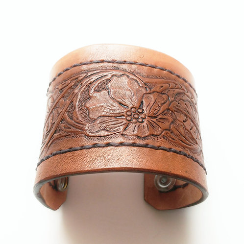 wide floral leather cuff