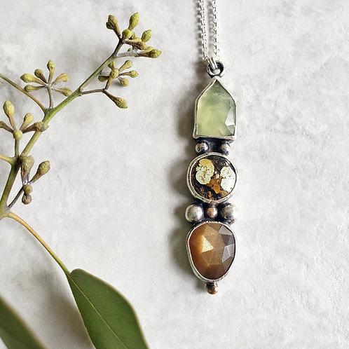 gem totem: prehnite, turquoise, golden moonstone