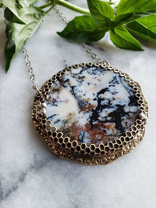 dendritic agate honeycomb medallion xl