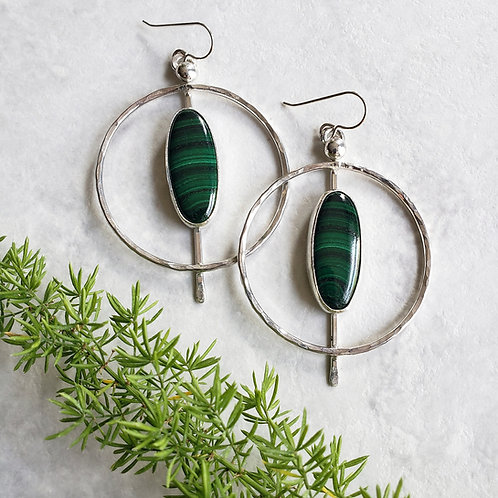 malachite cat-eye hoops (lg.)
