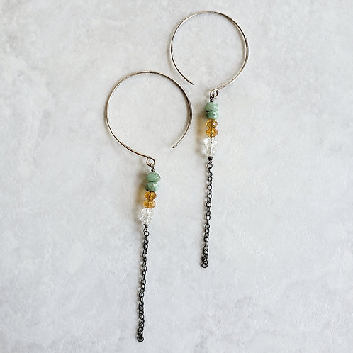 emerald/citrine/quartz chain hoops