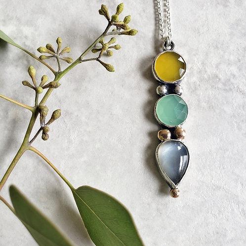 gem totem: yellow chalcedony, aqua chalcedony, grey moonstone