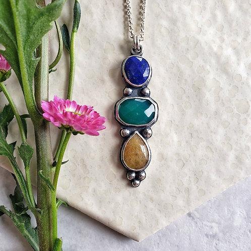 gem totem: lapis, green onyx, yellow sapphire