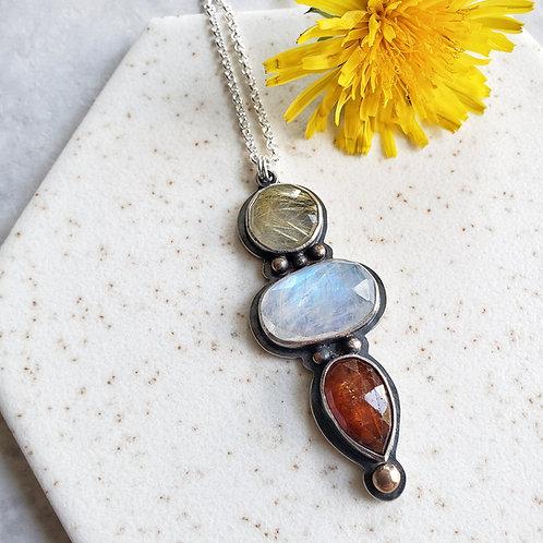 gem totem: rutile quartz, moonstone, orange kyanite