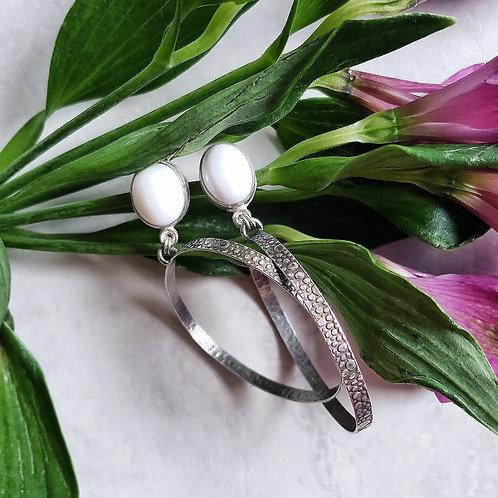 white opal pebble hoops