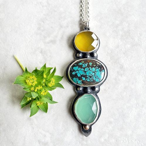 gem totem: yellow chalcedony, turquoise, aqua chalcedony