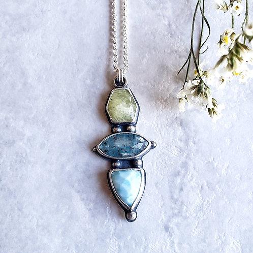 gem totem: prehnite, blue moss kyanite, larimar