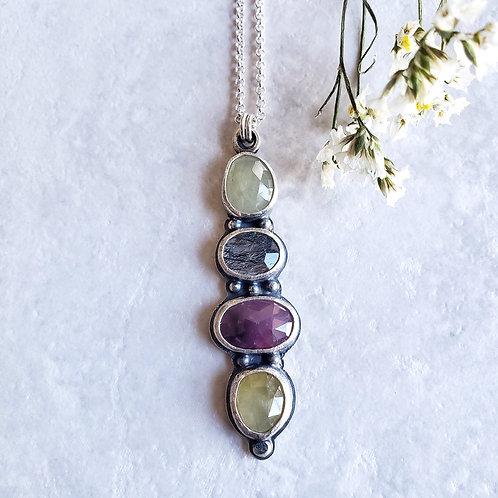 gem totem: multi sapphire & tourmalinated quartz