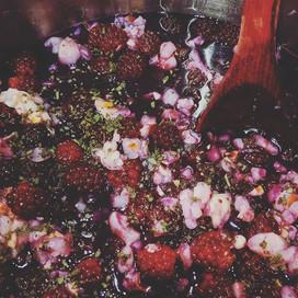 Blackberry-lychee-sage jam being born.jp