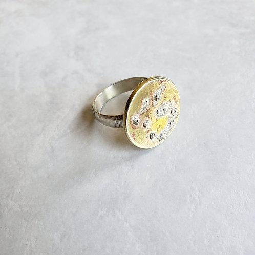 brass/sterling abstract disc ring