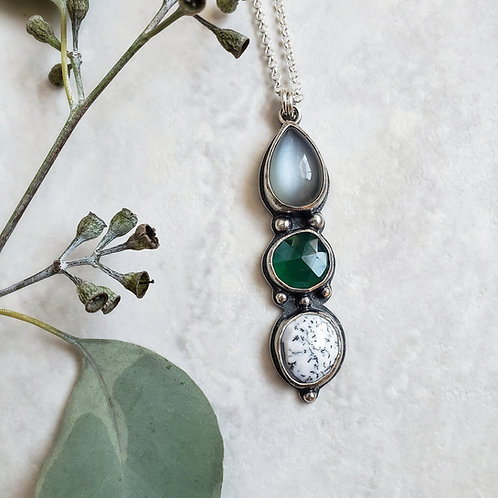 gem totem: grey moonstone, green onyx, dendrite opal