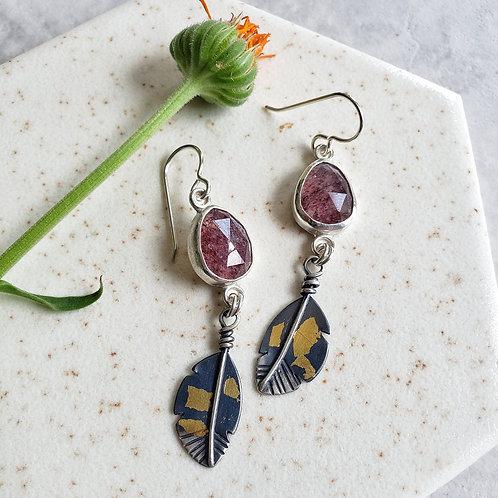 feather gems, ss/24k: strawberry quartz