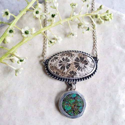 fossil flower coral & turquoise inlay