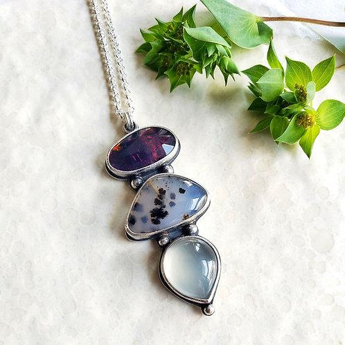 gem totem (luxe): black opal, montana agate, grey moonstone