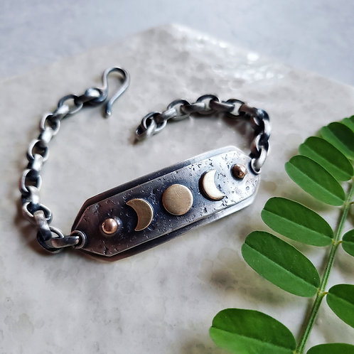 moonphase shield chain bracelet