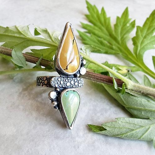 turquoise pebble talon ring