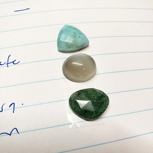 gem totem: larimar, grey moonstone, vesuvianite