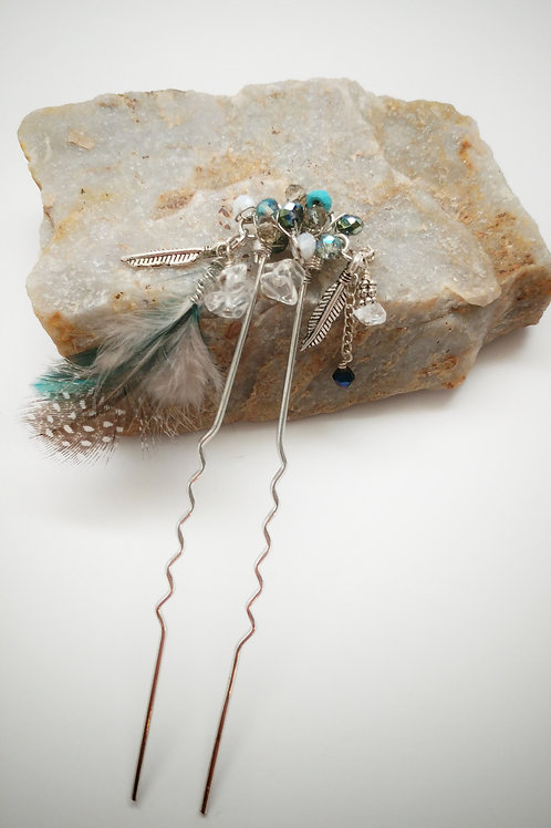 boho feather hairpin, aqua