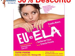 Assista Claudia Mauro no teatro com 50% de desconto!