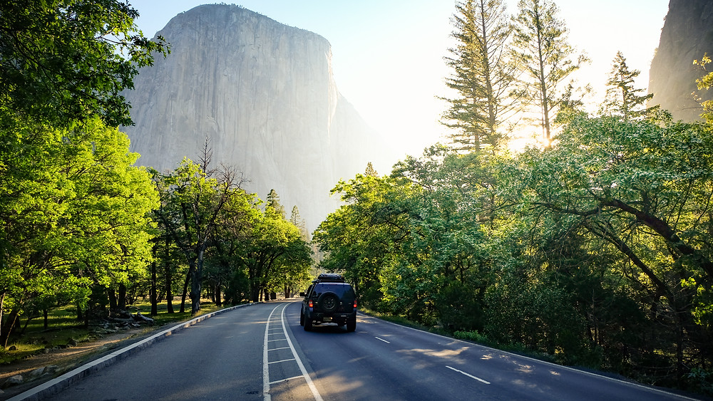 Driving past El Capitan in Yosemite National Park