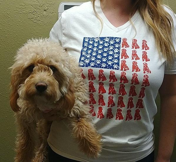 Patriotic Pup Flag V-neck UniSex Tee