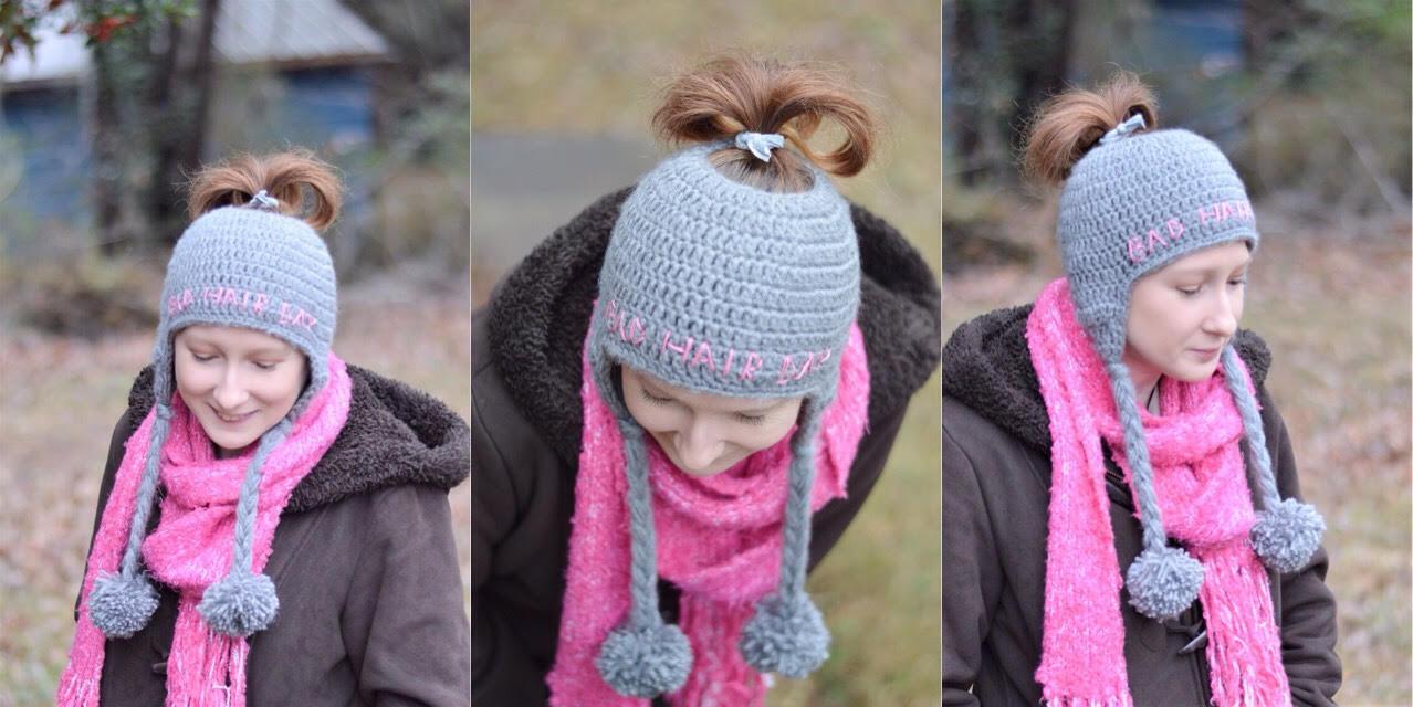 Bad Hair Day Messy Bun Ear Flap Hat