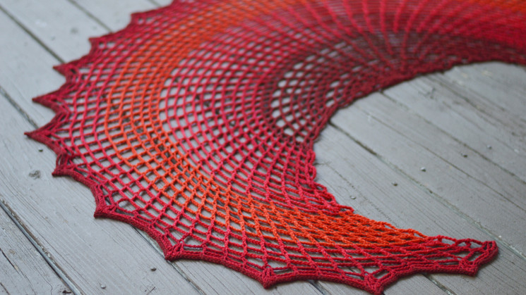 Sunset On Fire Shawl is in Happily Hooked Magazine!