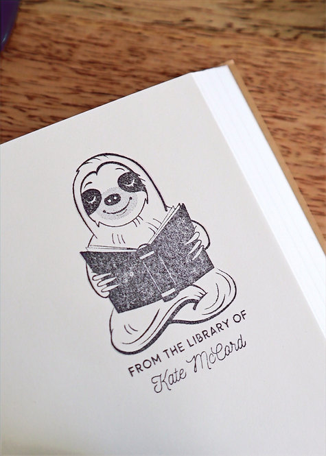 Sloth Library Stamp