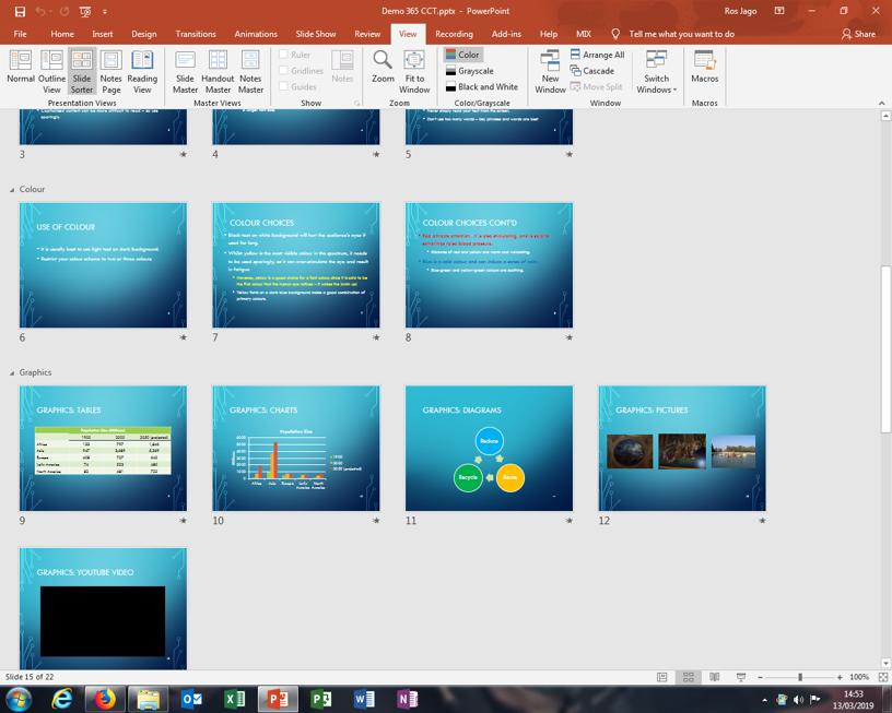 PowerPoint - Slide Sorter View