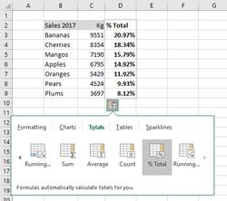 Excel - Quick Analysis Tool