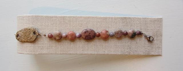 Stone bead bracelet w/ bronze clasp