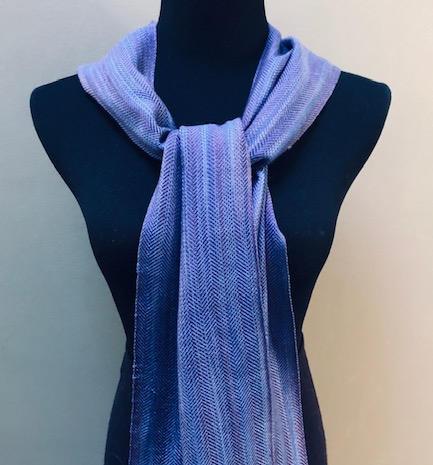 "Twill tencel scarf.  9""x70"" plus 4"" fringe.  $90"