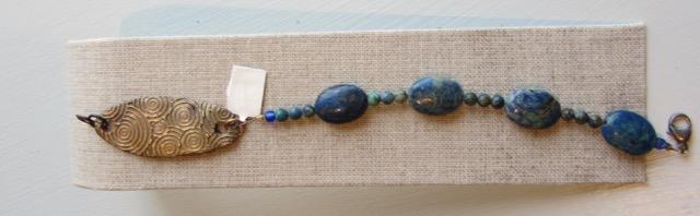 Stone beads w/ bronze clasp