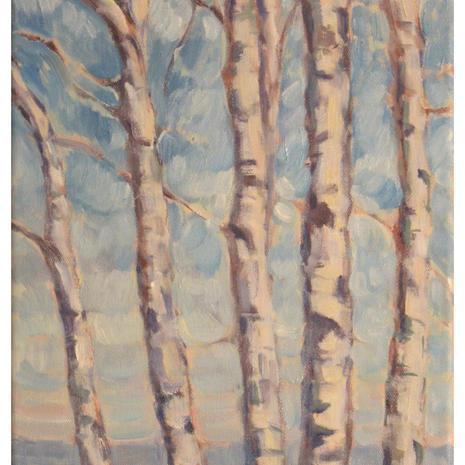 1.Birch along the shoreline, 20x10, oil