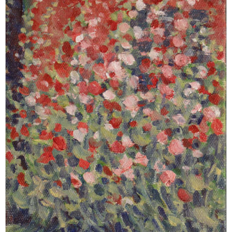 2.Hollyhocks and Red Shed, oil, 7x5
